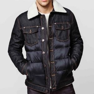 Buffalo David Bitton Mens Vintage 80s Inspired Denim Puffer Jacket Sherpa Collar
